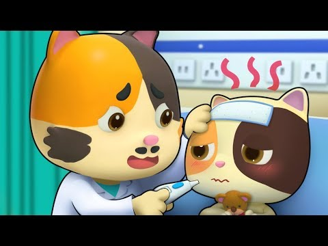 Baby Kitten is Sick | Pretend Play with Doctor Toys | Sick Song, Doctor Song | BabyBus Cartoon