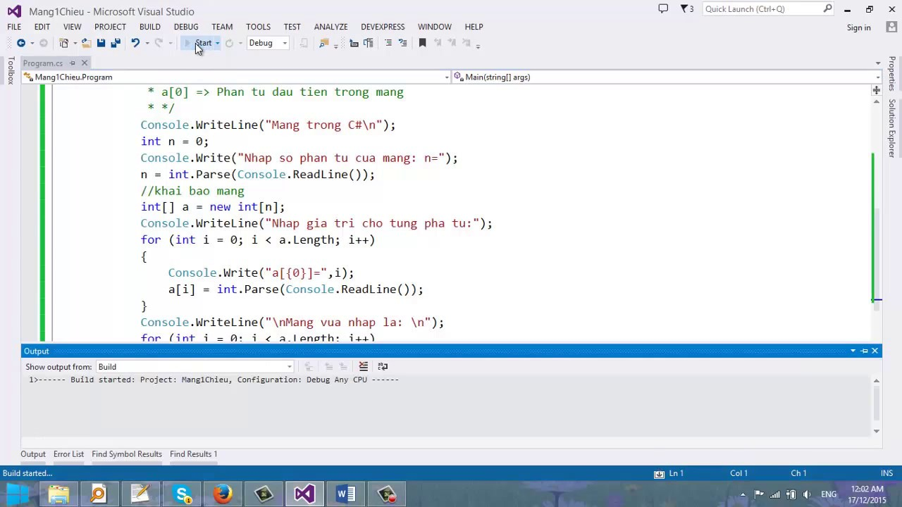 Video 20  – Mảng trong C#