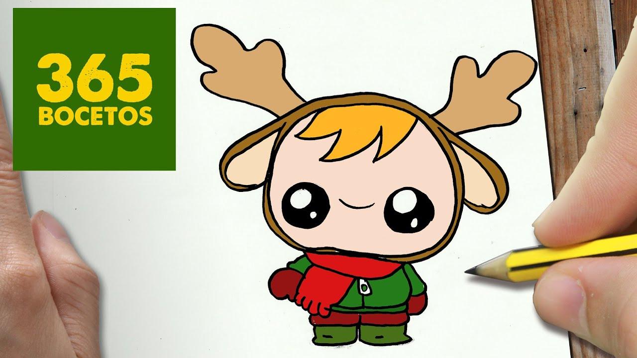 COMO DIBUJAR UN NIÑO RENO PARA NAVIDAD PASO A PASO Dibujos kawaii navideños , draw a KID , YouTube