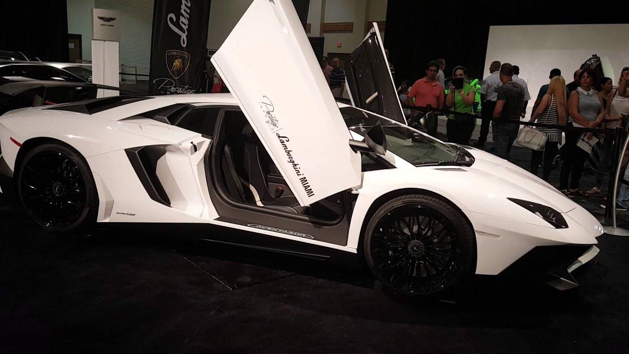 White Lamborghini Aventador SV at 2016 Miami Auto - YouTube