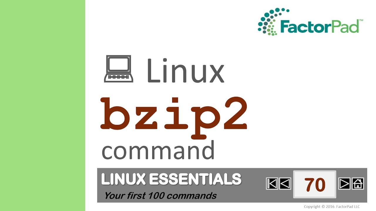 Linux bzip2 command summary with examples tutorial | FactorPad
