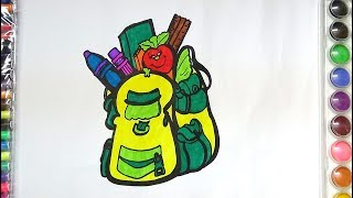 DRAW AND COLOR SCHOOL BAG COLORING PAGE FOR KIDS- HOW TO DRAW SCHOOL BAG FOR KIDS