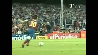 Messi First Goal For Barcelona Assist Ronaldinho