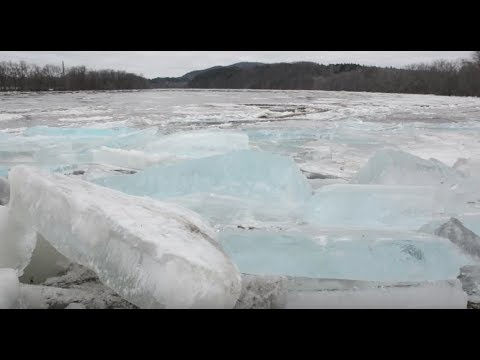 Large pieces of ice collect on the Connecticut River at Brunelle