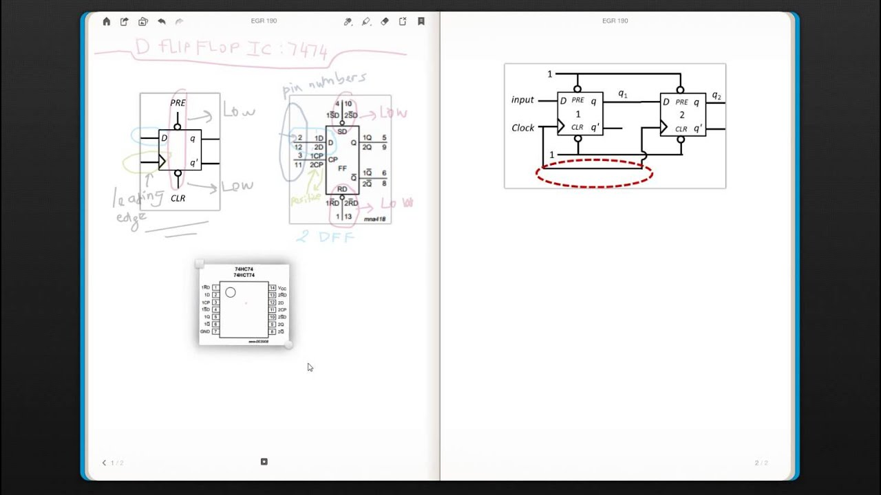 D Flip Flop 7474 Logic Diagram Building A Wiring T Circuit Ic Egr 190 Digital Circuits Week 10 2 Youtube Timing