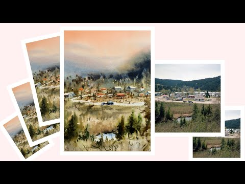 Watercolour Landscape Painting | Hill Station | Village Painting | Panoramic View | Achintya Hazra