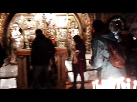 An explanation of the place where Jesus was crucified. Church of the Holy Sepulchre, Jerusalem