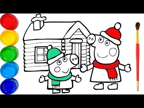 V岷� Peppa Pig vui gi谩ng sinh v脿 t么 m脿u cho b茅 - Glitter Peppa's Christmas drawing and coloring
