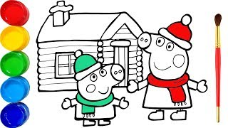 Vẽ Peppa Pig vui giáng sinh và tô màu cho bé - Glitter Peppa's Christmas drawing and coloring