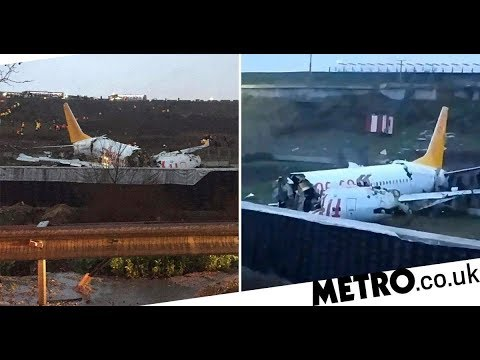 Plane skids off runway and cracks into three pieces in Istanbul
