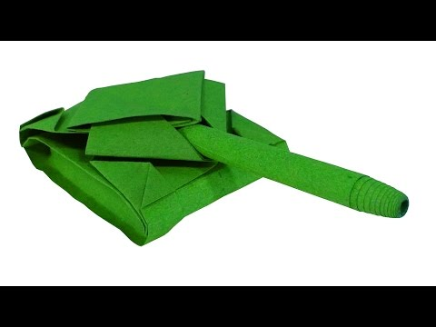 How to make a very easy and simple Origami Army tank (Military vehicle / Battle Tank) - HD