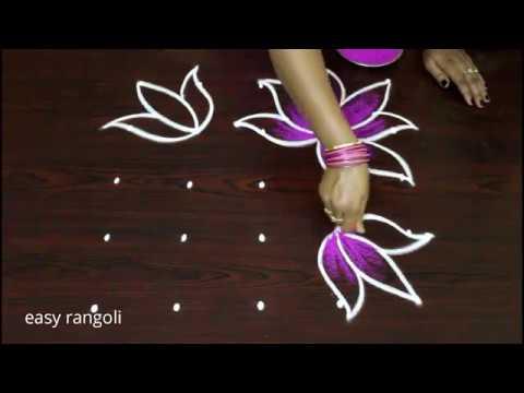 Image result for easy multi color lotus rangoli kolam designs with dots * latest daily routine small muggulu 2018 easy rangoli