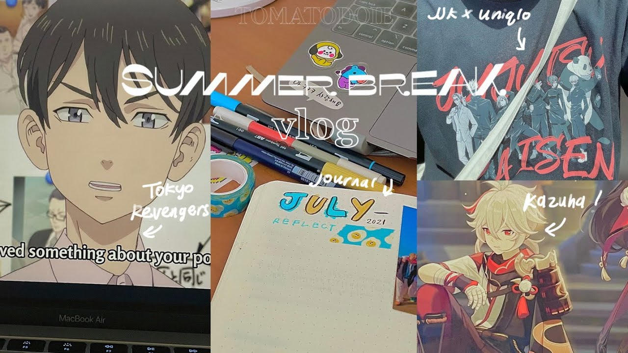a summer break vlog : jujutsu kaisen x uniqlo, tokyo revengers, genshin impact + anime journal