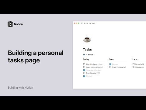 Build a personal tasks page in Notion