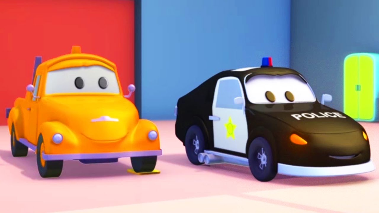 Polis Arabası Ve çekici Tom Araba Ve Kamyon Inşaat çizgi Filmi