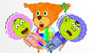 Lion Family found the boy doll and pretends to be parent | Cartoon for Kids