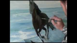Научится рисовать с нуля! Игорь Сахаров Лошадь бегущая по волнам