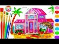 Barbie Beach House Coloring Book - Educational Drawing and Coloring Art Video for Kids