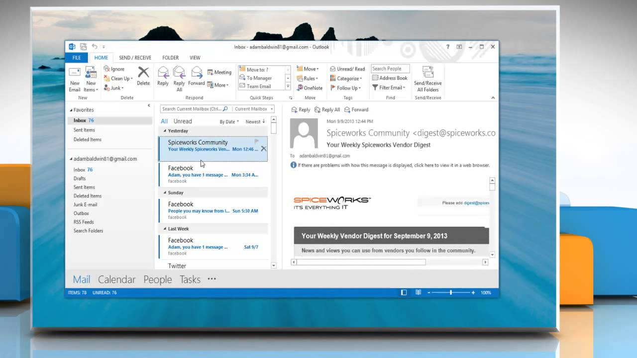 how to open data files in outlook 2013