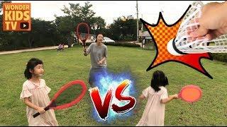 이상한 운동회! 배드민턴 챈린지 야구대결! 배드민턴 vs 야구 l playground for kids l kids sports battle challeng