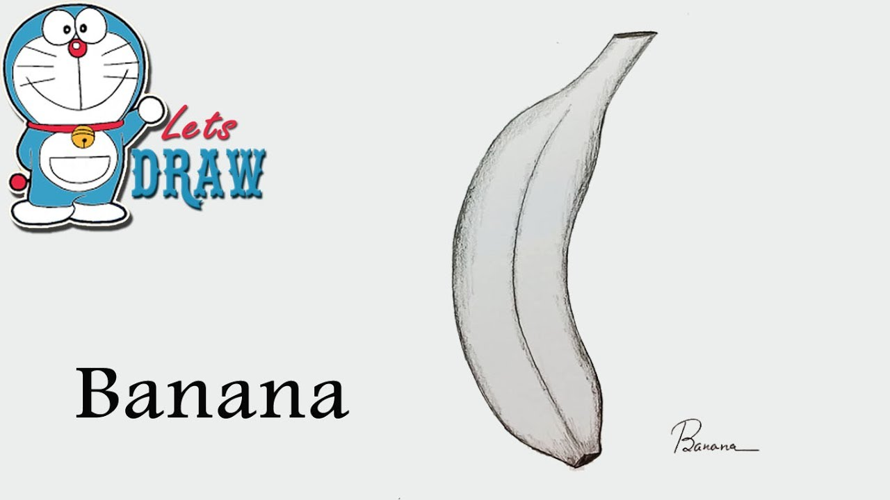 How to draw banana by pencil sketch step by step very easy