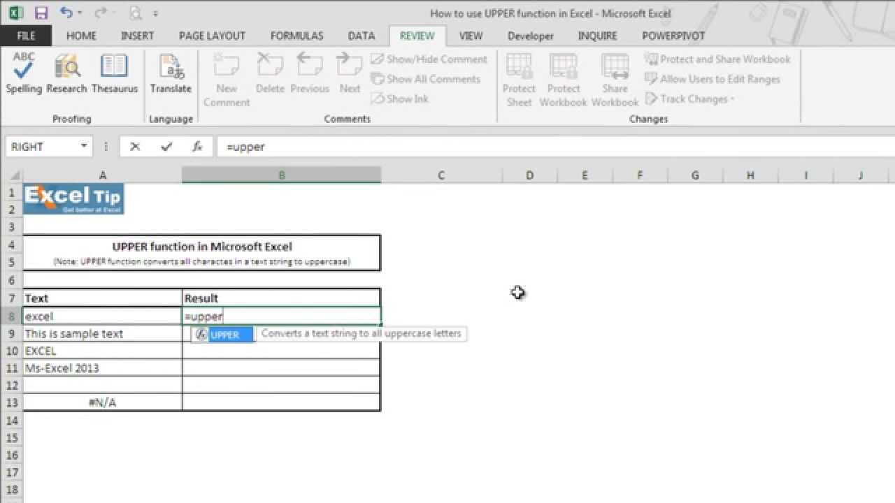 How to use UPPER function in Excel