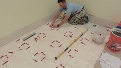 """""""2"""" Installing 18x18 Travertin stone tiles on bathroom floor with T-Lock leveling system 🛀🏻 🚿🚽🚻"""