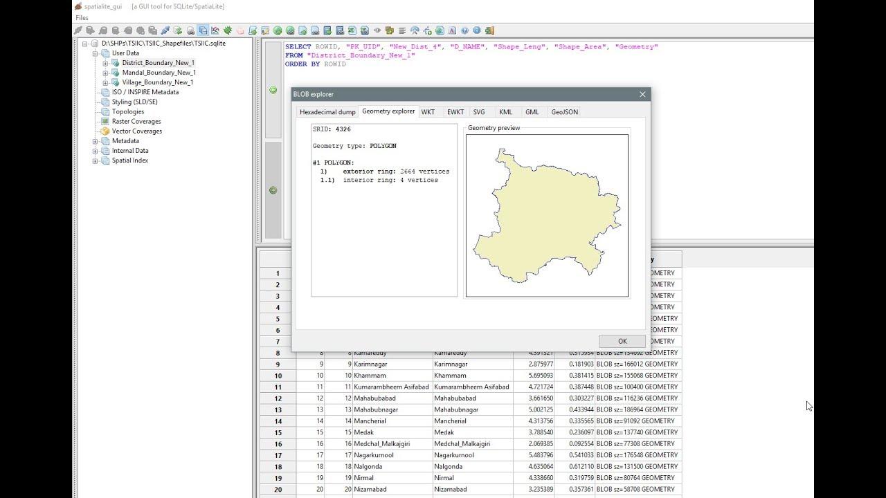 Spatialite GUI - SQLite - Explore Data and Visualize Geometry from  Spatialite GUI - Part VI