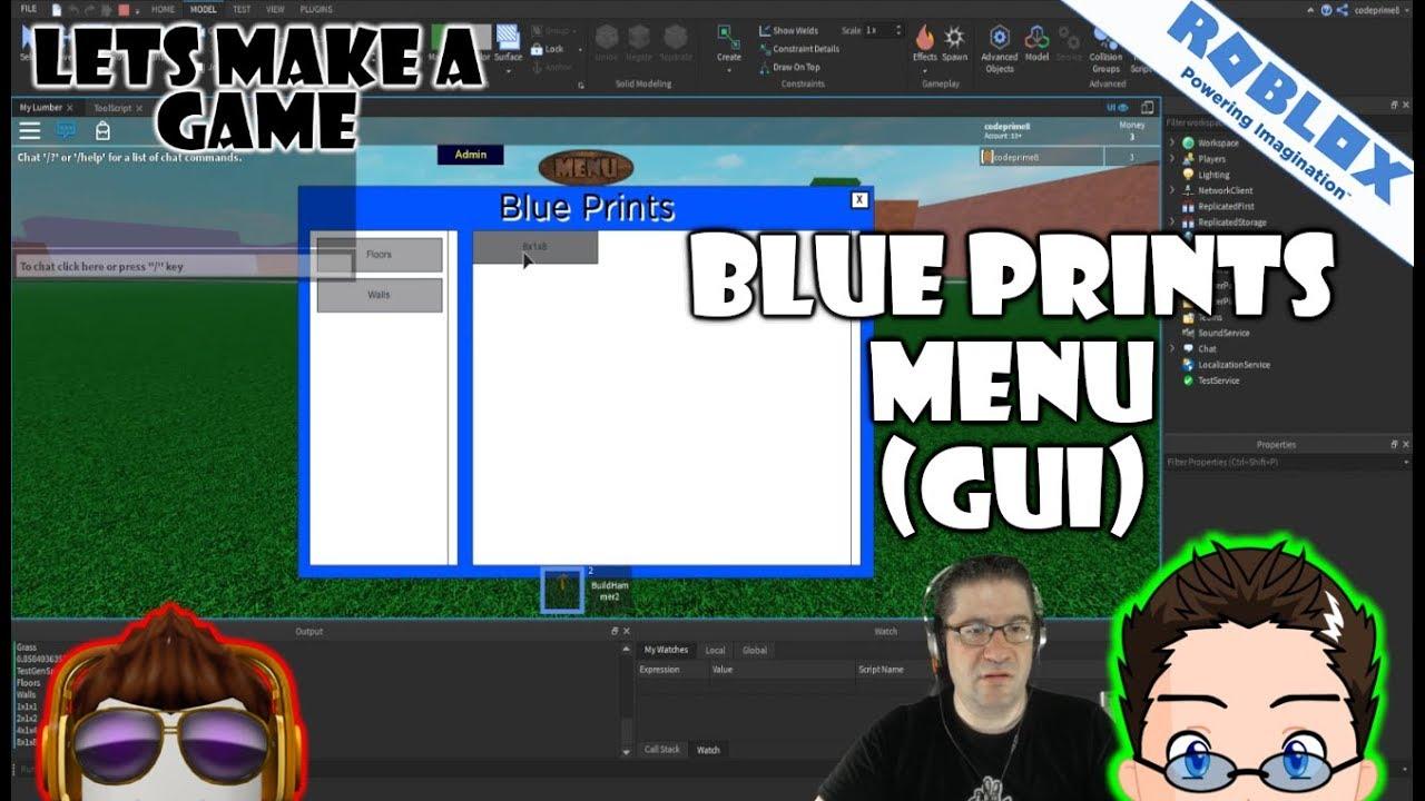 Roblox Copy Game Gui Roblox Lets Make A Game A Blueprint Menu Advanced Gui Youtube