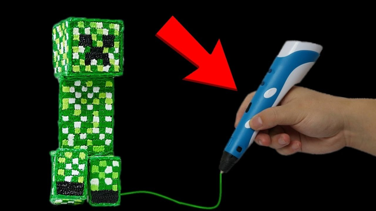 minecraft creeper mit 3d stift malen diy youtube. Black Bedroom Furniture Sets. Home Design Ideas