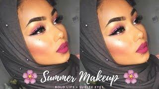 Pink summer makeup tutorial | Bold lips + subtle eyes