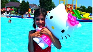 Waterpark Fun for Kids Giant Hello Kitty and Water Slides - Ingrid Surprise