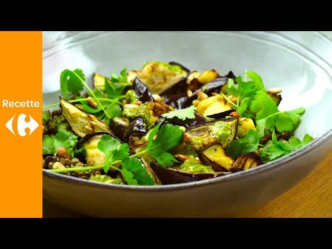 cuisinez-malin:-salade-d'aubergines-rôties,-lentilles-et-pignons-de-pin