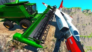 BeamNG drive - Can We Push An Airplane From The Cliff With Cars ?