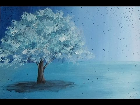 Acrylic Painting Surreal Turquoise Tree Painting