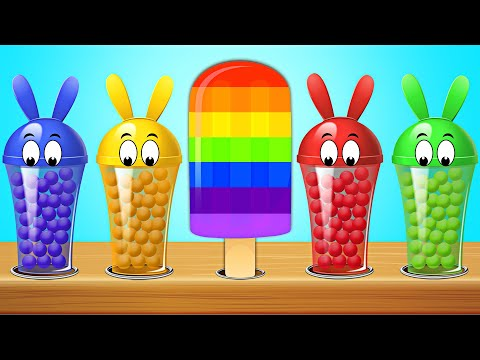 KidsCamp - Learn Colors With Bunny Mold And Balls For Ice Cream Popsicles Finger Family Rhymes