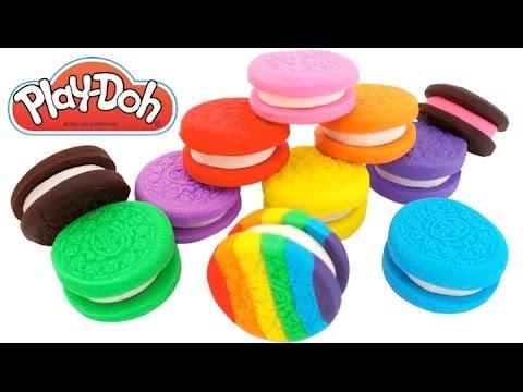 Play Doh Rainbow Oreo Cookies How to Make Play Dough Food * RainbowLearning