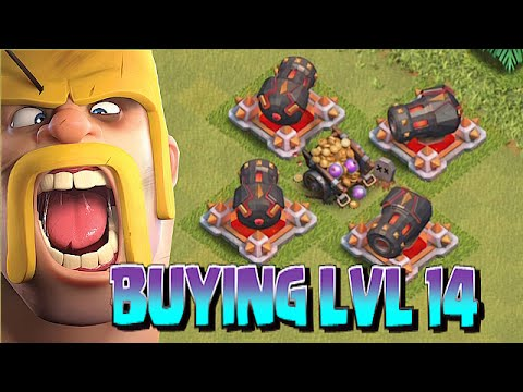 Clash Of Clans - BUYING LVL 14 CANNONS!! (Defense with the new upgrades!!)