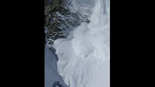 Mont Blanc du Tacul Avalanche and Serac Ice Fall 07/2014