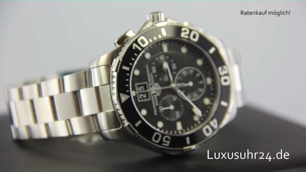 147d5ad9694 TAG Heuer Aquaracer Chronograph Quartz Grande Date CAN1010.BA0821  Luxusuhr24 ab 20 Euro Monat - YouTube