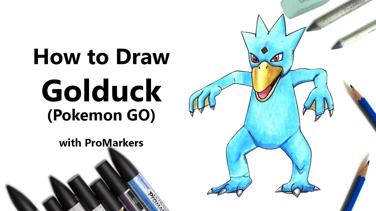 How To Draw And Color Golduck From Pokemon GO With ProMarkers Speed Drawing