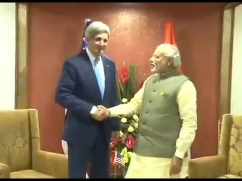 Prime Minister Modi meets US Secretary of StateJohn Kerry.