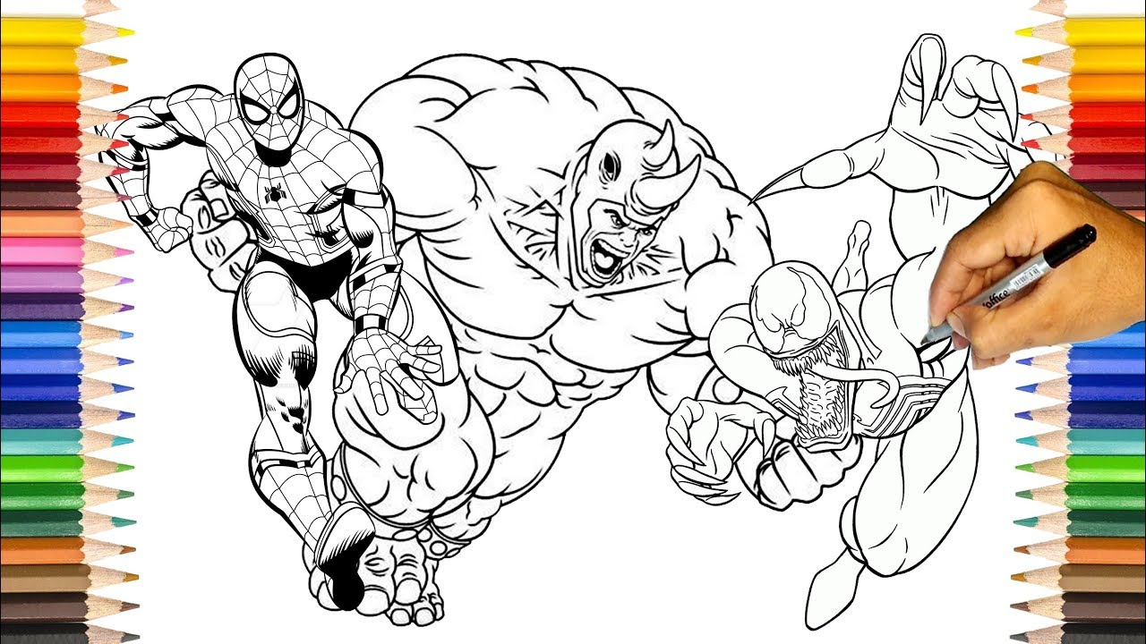 SPIDER MAN Coloring Pages / Spider Man Vs Rhino and Venom / SAILANY  Coloring Kids
