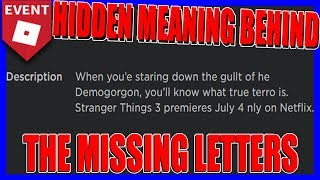 HIDDEN MEANING BEHIND THE MISSING LETTERS! | Roblox Stranger Things 3 [EVENT]