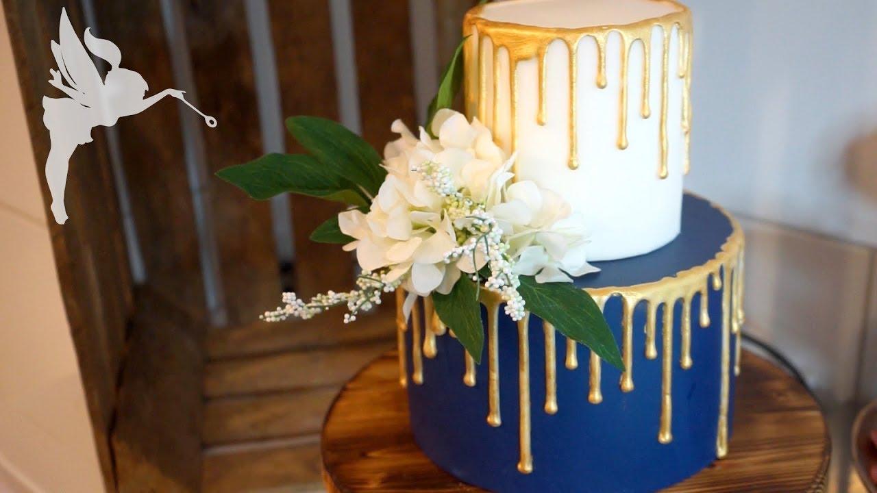 Goldener Drip Effekt Tortendeko Idee Mit Trendigem Dripeffekt In Gold Kuchenfee