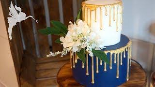 Goldener Drip Effekt - Tortendeko Idee mit trendigem Dripeffekt in Gold - Kuchenfee