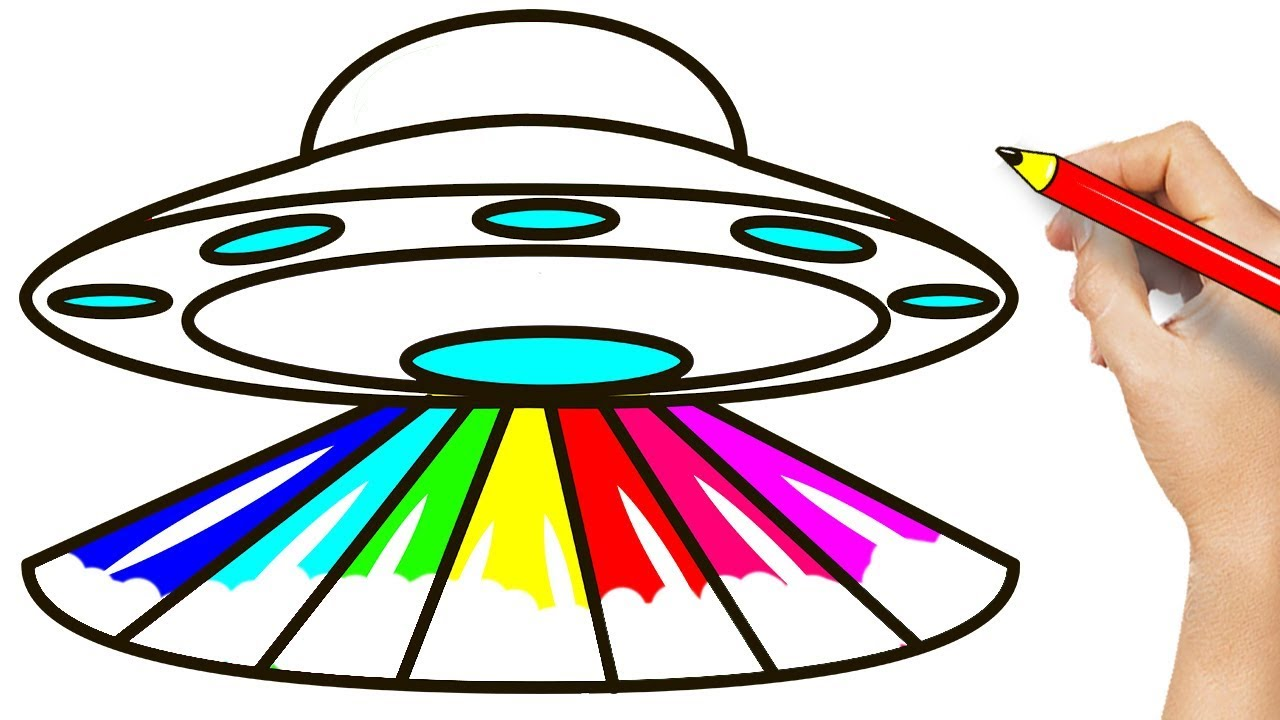 Rainbow UFO Coloring Pages - How To Draw UFO For Kids - YouTube