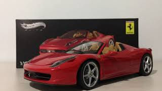 Ferrari 458 spider hot wheels elite 1:18