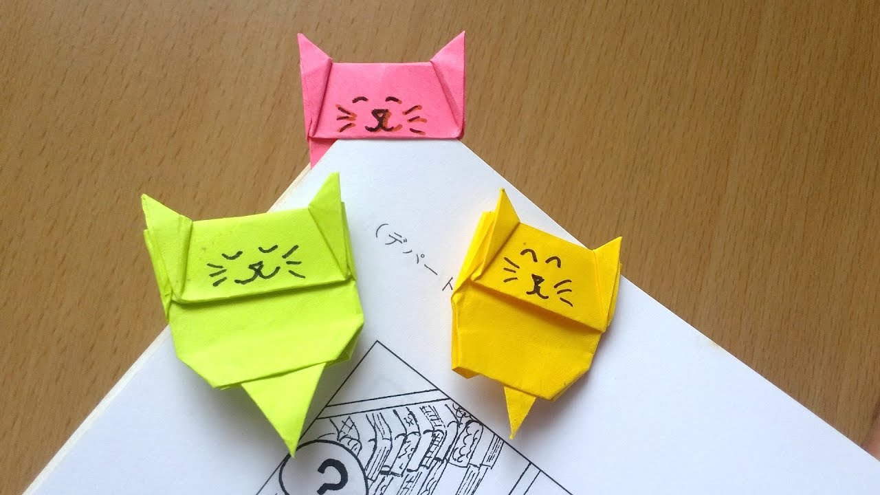 Easy Bookmark Cat Bookmark Origami From Post It Note Youtube