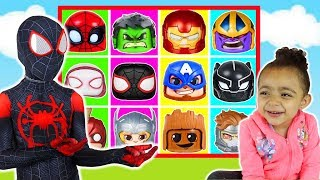 Giant Superhero Smash Game with Slime and Avengers Endgame Superhero toys with Anwar and Leah